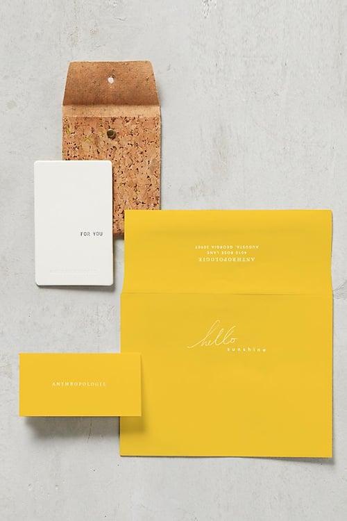 anthropologie gift card envelope
